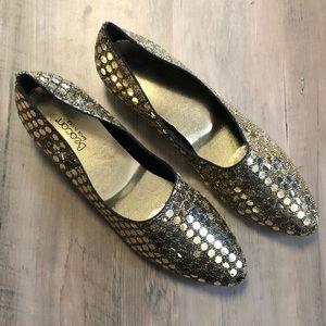Vintage Beacon Gold Metallic Slip on Wedge Size 7N